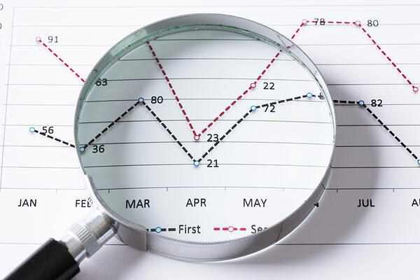Magnifing glass and documents with analytics data lying on table - sales data