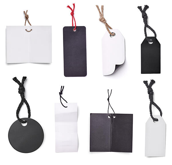 collection of blank tags on white background. each one is shot separately